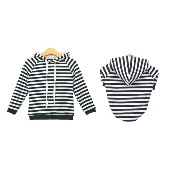 Pups & Bubs Matching Blue Striped Hoodie Set