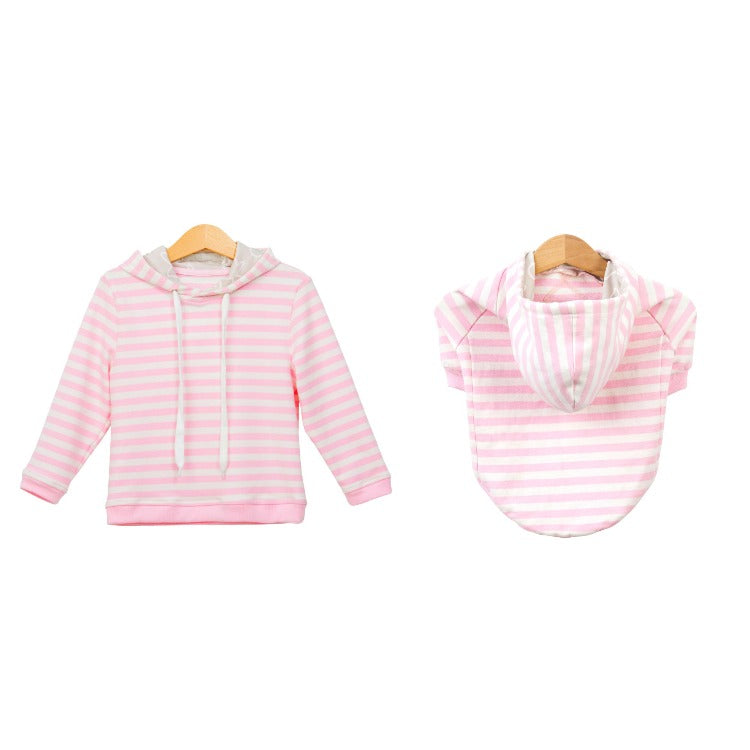 Pups & Bubs Matching Pink Striped Hoodie Set