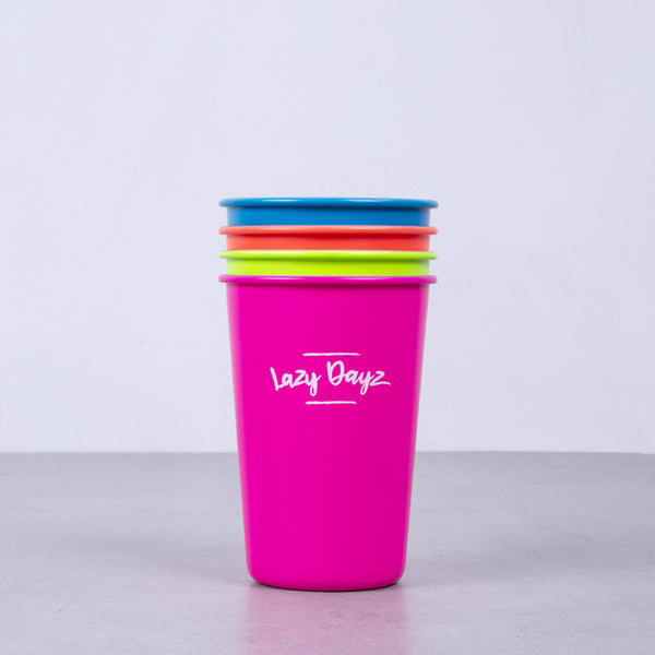 Picnic Cup 350ml 4 Pack - Rainbow - Lazy Dayz