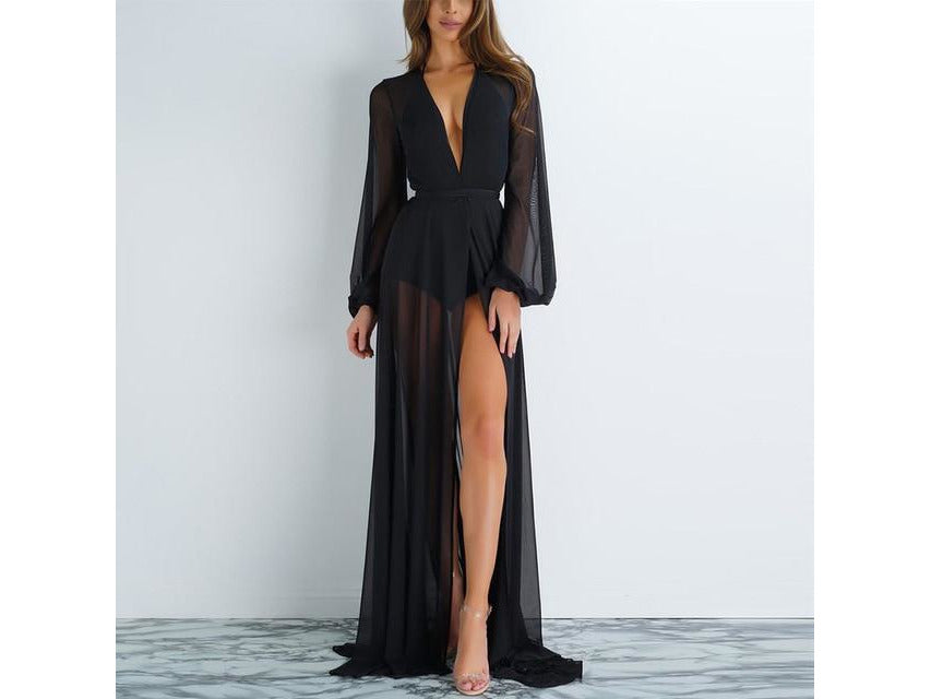 Sheer Long Sleeve Cover Up