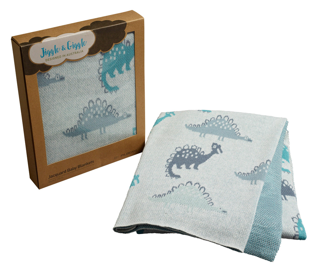 Dino 100% Cotton Knit Blanket