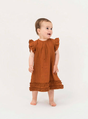 Cap Sleeve Dress - Brick
