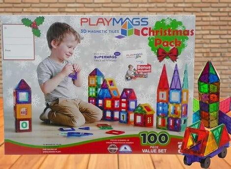 Playmags - 3D Clear Colour 100 Piece Magnetic Tiles X-MAS Pack