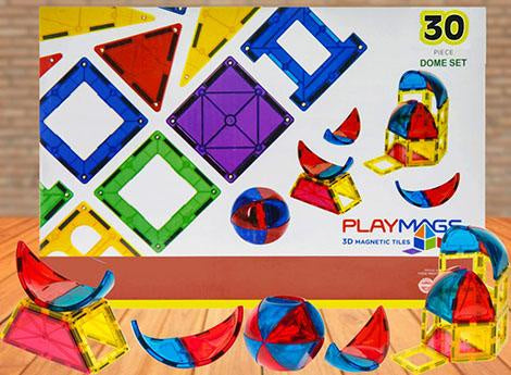 Playmags - 3D Clear Colour 30 Pieces Dome Accessories Pack