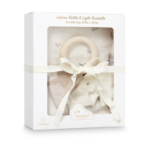 Gift Box - Printed Swaddle and Leaves Rattle - OCS Fawn