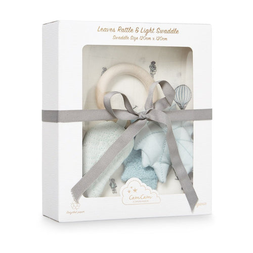 Gift Box - Printed Swaddle and Leaves Rattle - OCS Holiday