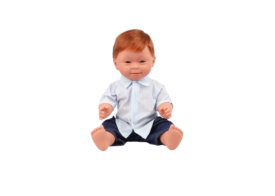 Baby Doll With Down Syndrome - Boy Red Hair 40cm