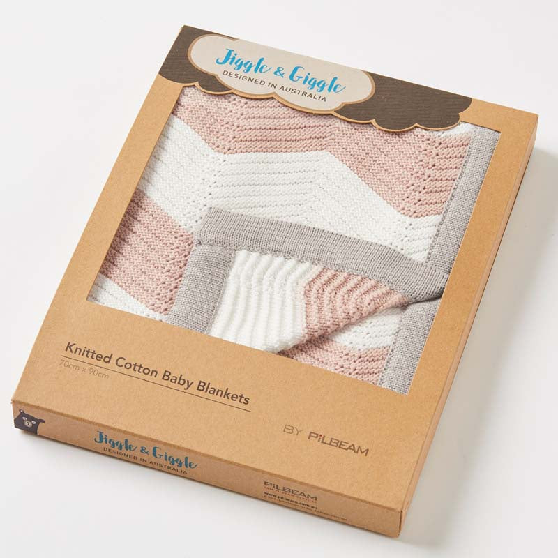 Zig Zag Knitted Baby Blanket - Pink, Grey & White