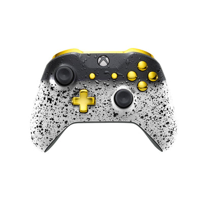 Xbox One Custom Controller - 3D White Shadow & Gold Edition | #3000401