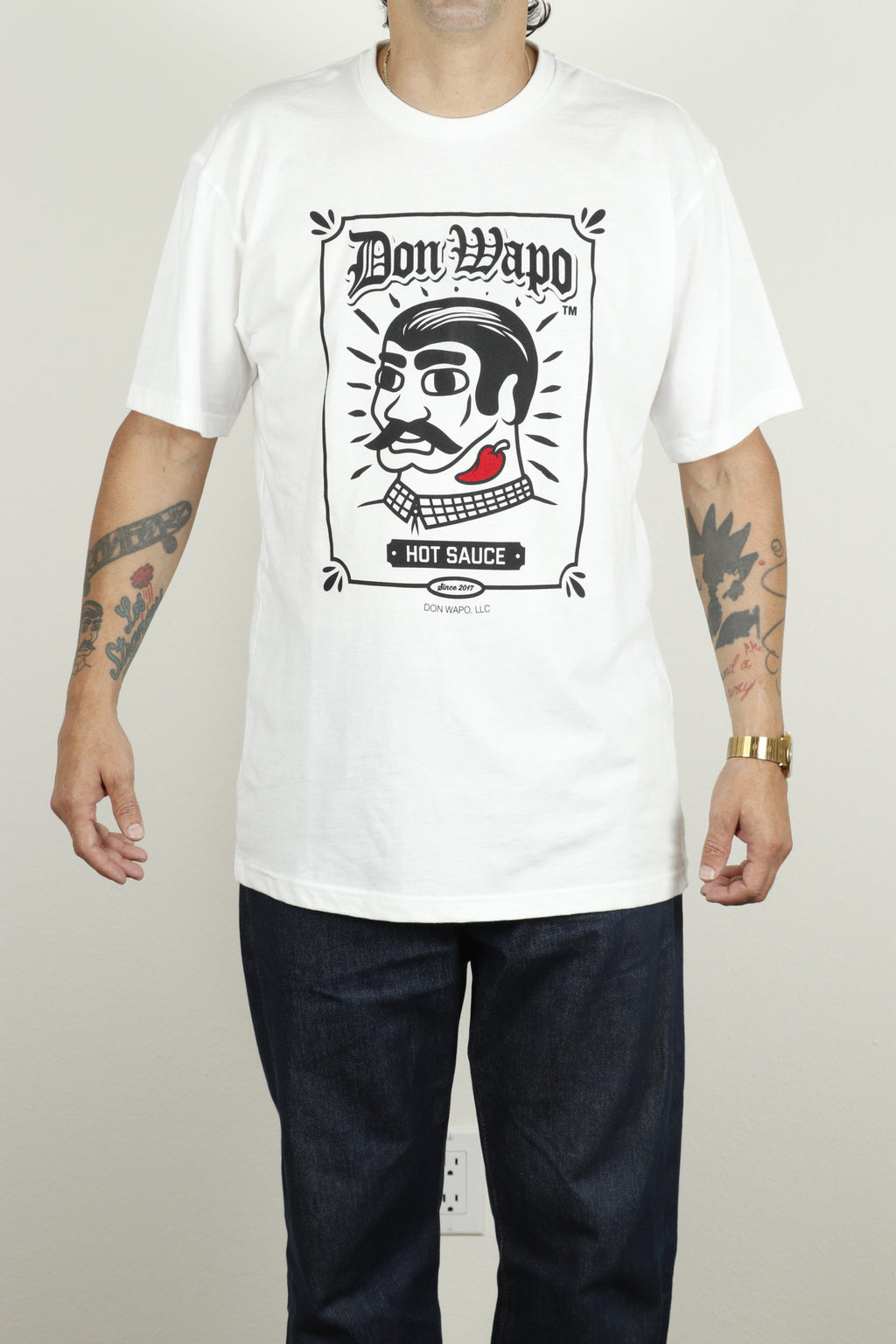 Mens OG Don Wapo Front Logo Tee White