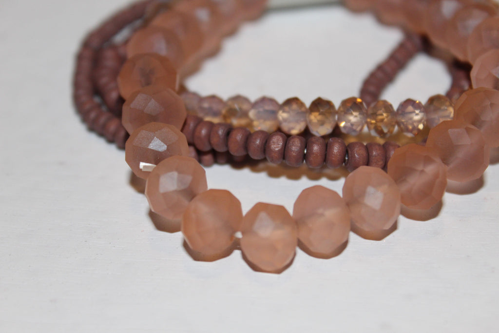 Beaded Bracelet Set- Mauve