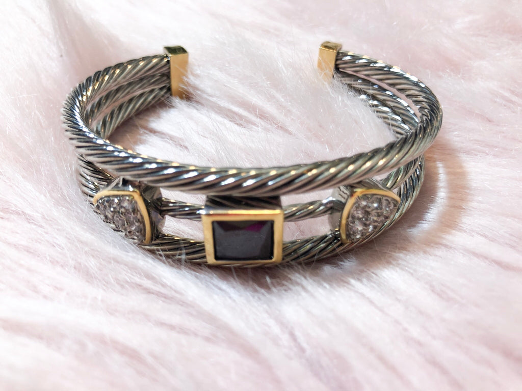 Silver and Black Cable Bracelet