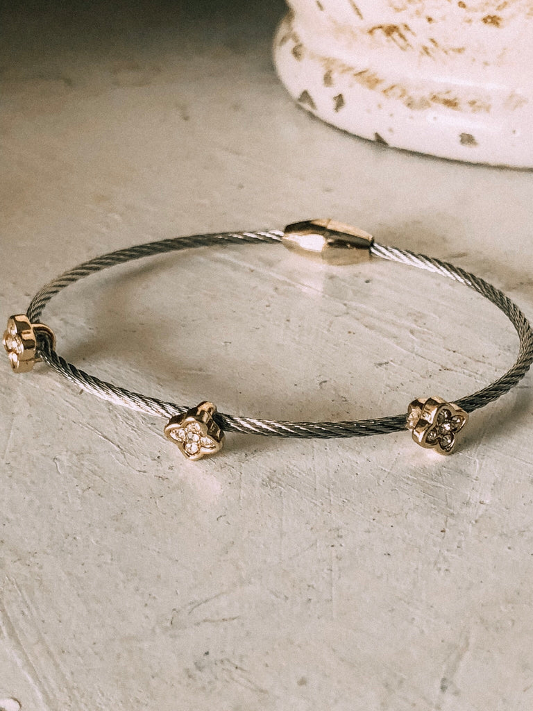 Silver and Gold Cable Bracelet