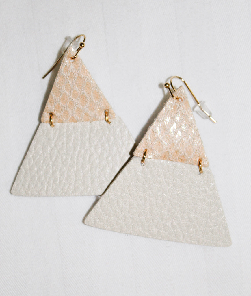 Triangle Snake Print Leather Earrings