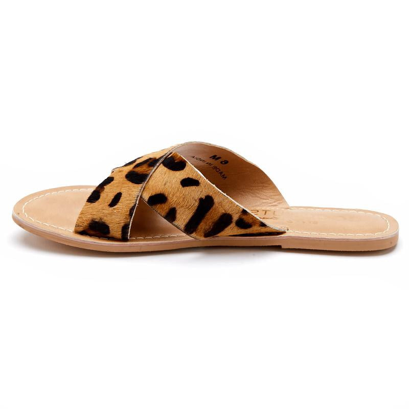 Leopard Genuine Calf Hair Slide Sandal