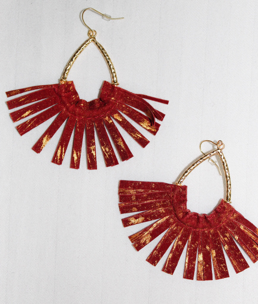 Red and Gold Leather Fan Earrings