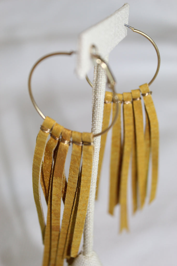 Leather Fringe Earrings-Gold