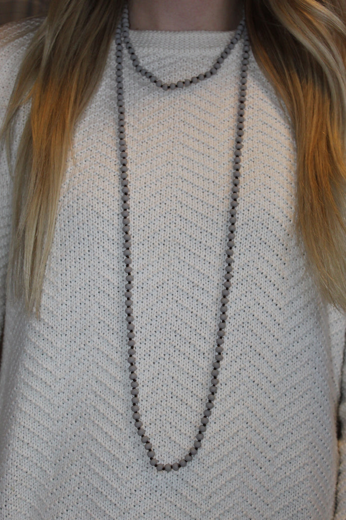 Light Grey Beaded Necklace-Matte