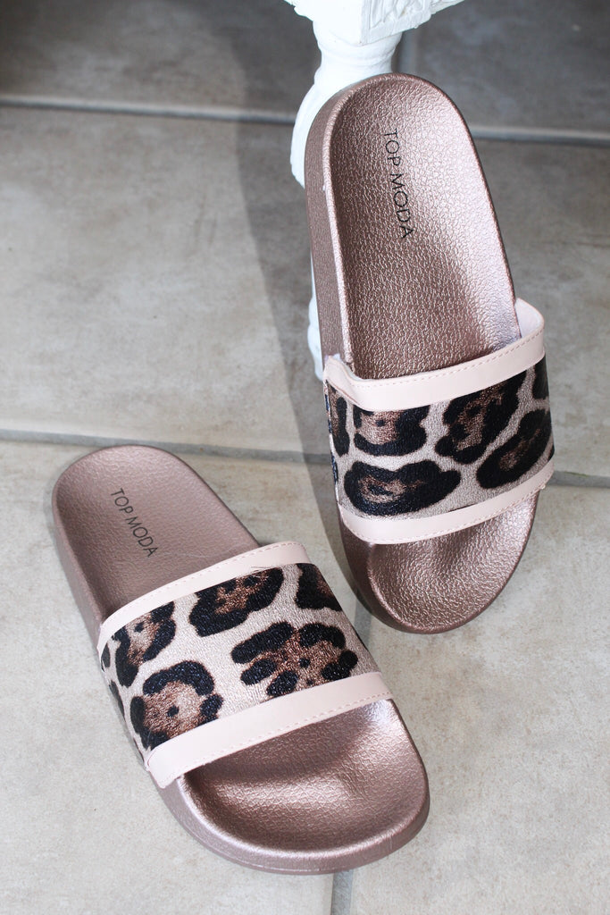 Leopard Slides- Rose Gold and Blush