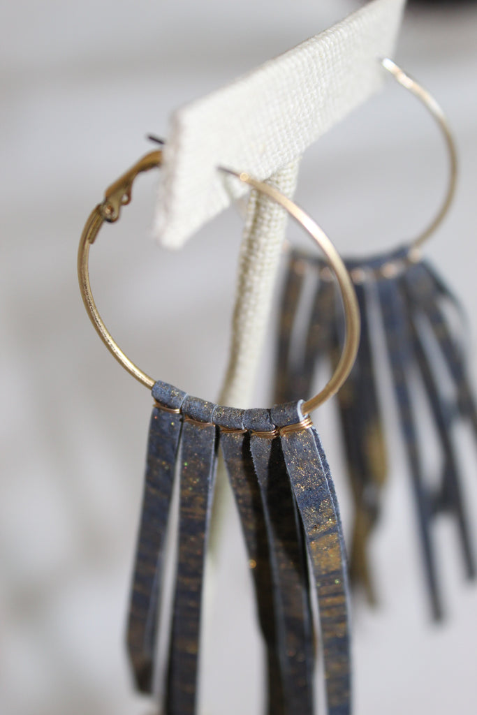 Leather Fringe Earrings-Navy