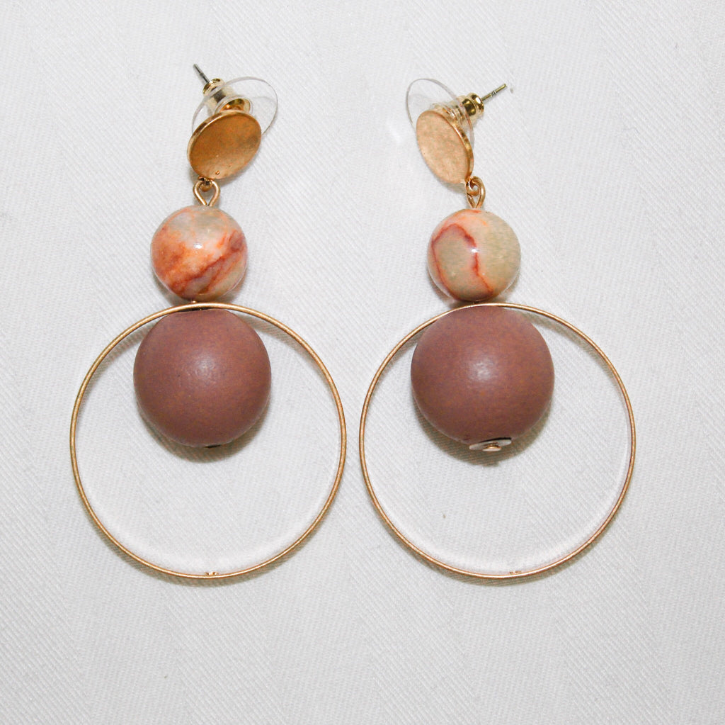 Mauve and Gold Drop Earrings