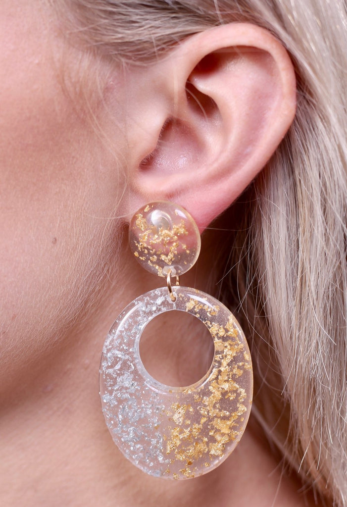 Caelyn Metallic Fleck Acrylic Drop Earring Silver-Gold