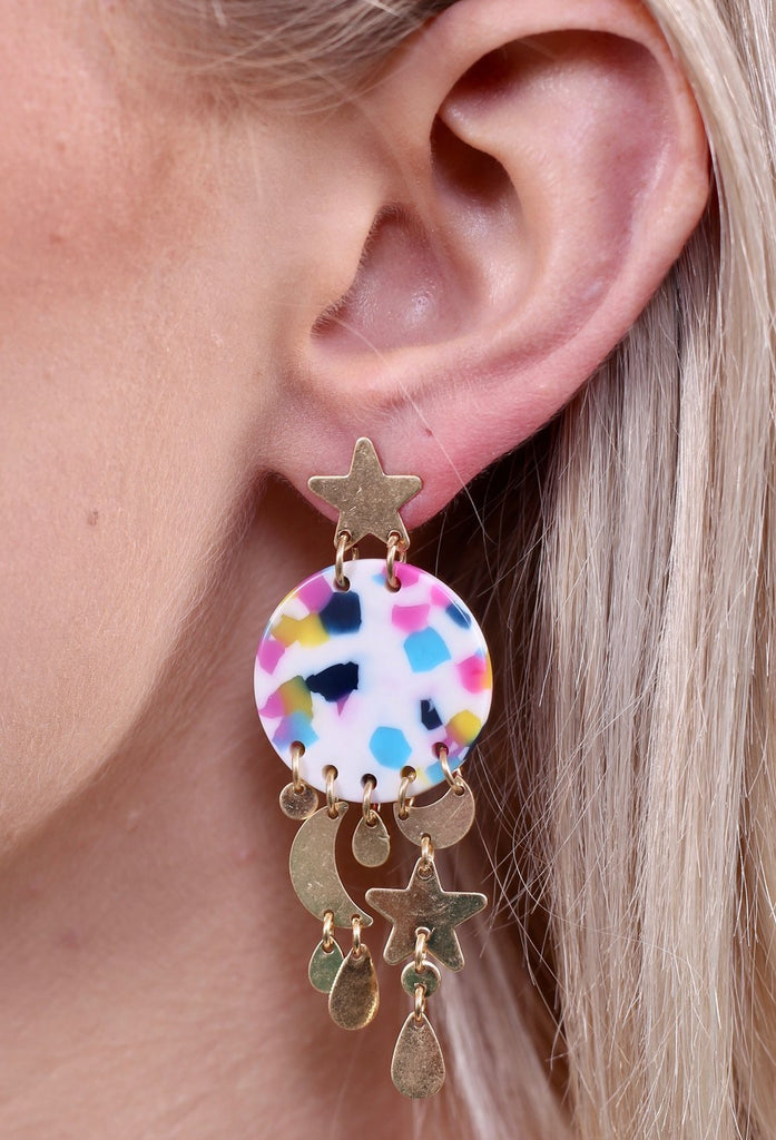 Zenon Resin Star and Moon Chandelier Earrings