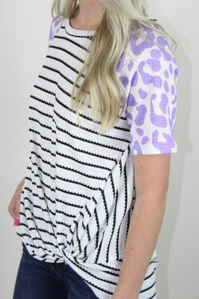 Cheetah and Stripes Top- Lavender