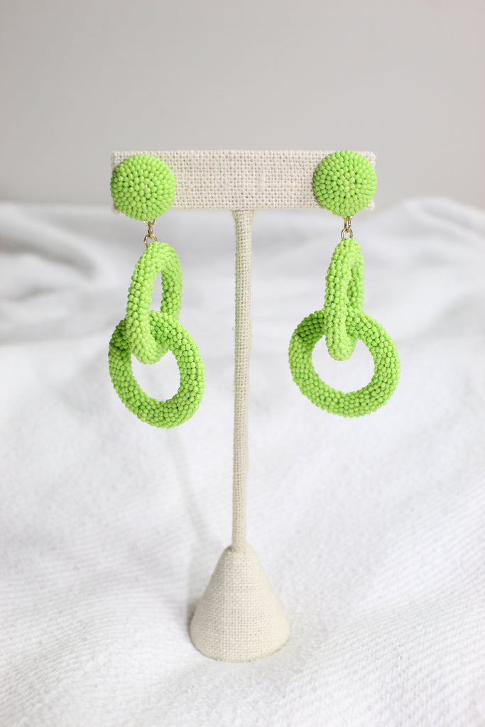 Beaded Earrings- Lime
