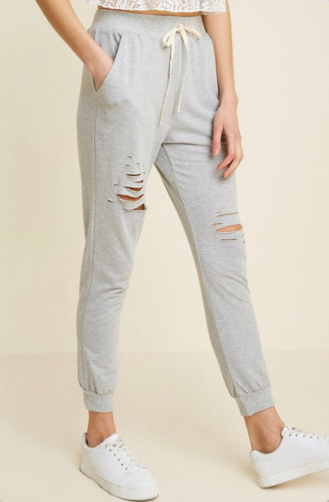 Distressed Joggers- Grey