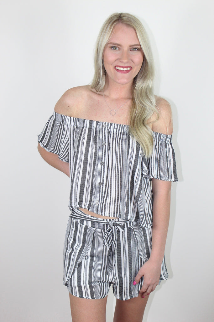 Charcoal and White Striped Set