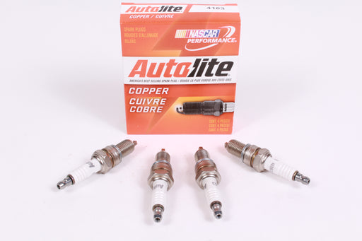 Box of 4 Genuine Autolite 4163 Copper Resistor Spark Plugs