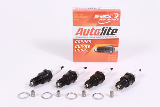 Box of 4 Genuine Autolite 64 Copper Resistor Spark Plugs