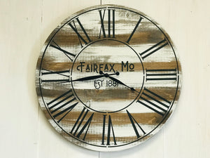 Personalized Rustic Farmhouse Clock, Distressed Rustic Oversized Wall Clock - Farmhouse Style Vintage Wall Decor