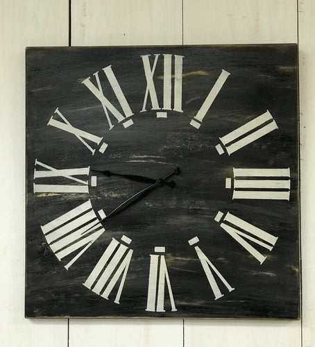 Clock - Oversized Wood Wall Clock - Farmhouse Black