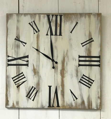 Clock - Oversized Wood Wall Clock - Farmhouse