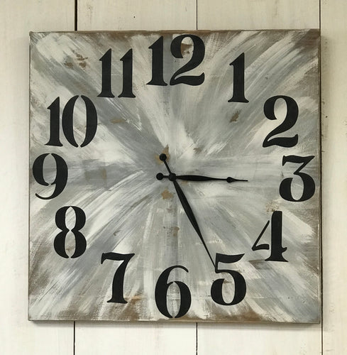 Clock - Oversized Wood Wall Clock - Farmhouse Gray