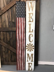 Reversible Porch Sign, Welcome Sign, USA Flag Porch Sign, Patriotic Sign, Farmhouse Porch Decor, Windmill Sign