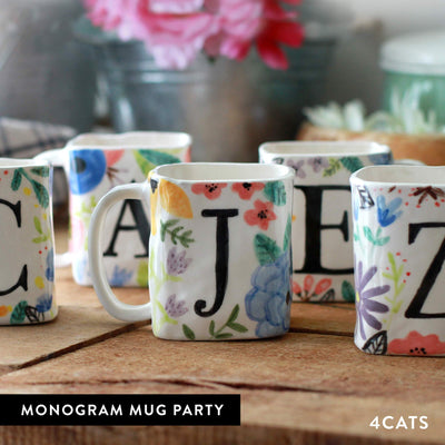 4Cats Adult Clay Monogram Mug Party