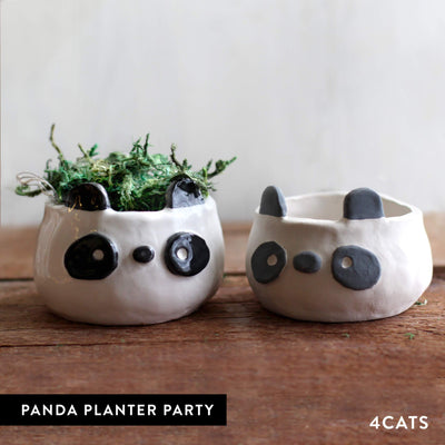 4Cats Adult Clay Panda Planter Party