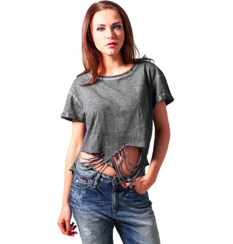 Cutted Cropped Tee - Darkgrey ✖ Urban Classics