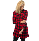 Long Flanell Shirt Dress - Black/Red ✖ Urban Classics