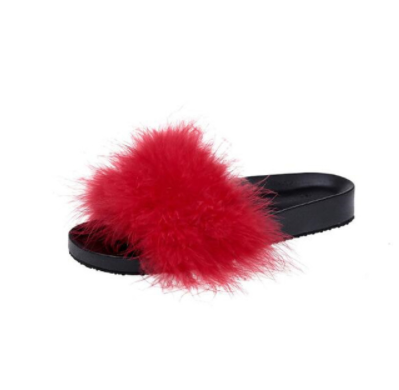 Rød Faux Fur Slippers