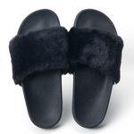 Sort Fibbi Fur Slippers