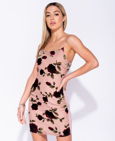 Floral Flock Bodycon Dress