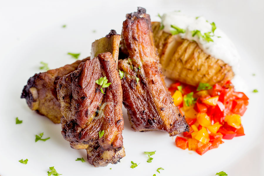 Braised Baby Back Pork Ribs with Hasselback Potato & Yogurt