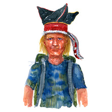 Load image into Gallery viewer, Original Nature hiker Scandinavian hat Watercolor