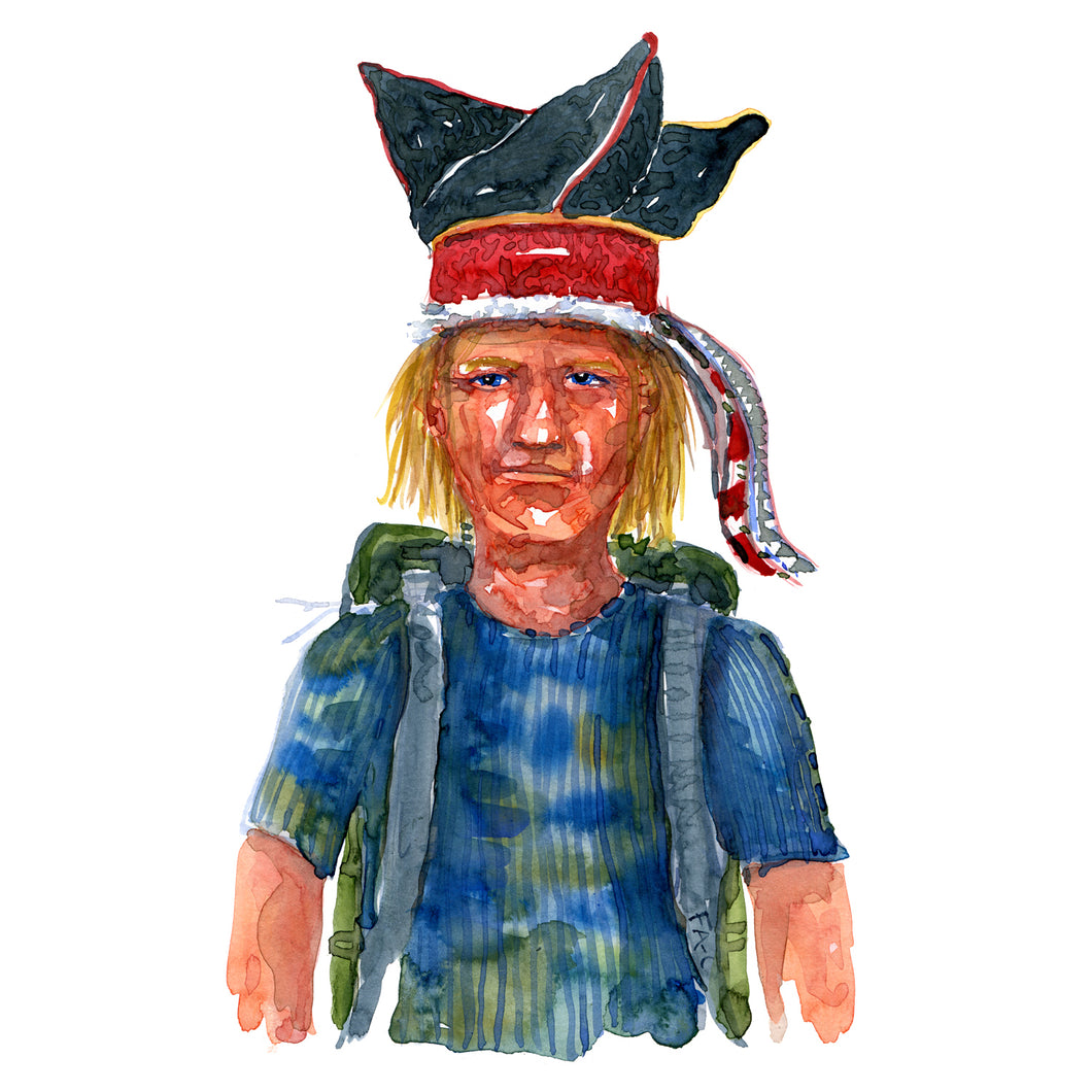 Original Nature hiker Scandinavian hat Watercolor