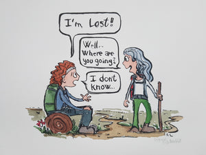 Lost hiker girl Original illustration