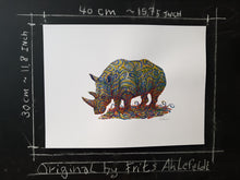 Load image into Gallery viewer, Original Tribal rhino-1 Watercolor